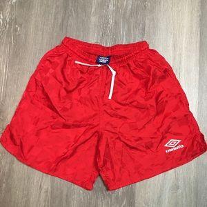Vintage umbro soccer futbol spell out logo shorts